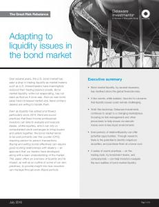 Adapting to liquidity issues in the bond market