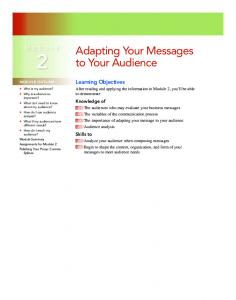 Adapting Your Messages to Your Audience