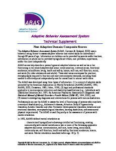 Adaptive Behavior Assessment System