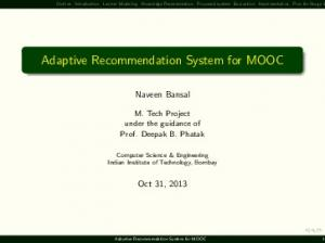 Adaptive Recommendation System for MOOC