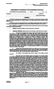 ADDENDUM TO CONTRACT FOR PURCHASE AND SALE