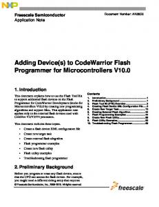 Adding Device(s) to CodeWarrior Flash Programmer for Microcontrollers V10.0