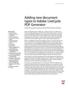 Adding new document types to Adobe LiveCycle PDF Generator