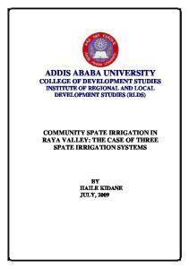 ADDIS ABABA UNIVERSITY COLLEGE OF DEVELOPMENT STUDIES INSTITUTE OF REGIONAL AND LOCAL DEVELOPMENT STUDIES (RLDS)