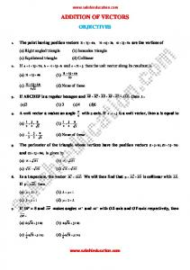 ADDITION OF VECTORS OBJECTIVES