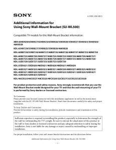 Additional Information for Using Sony Wall-Mount Bracket (SU-WL500)
