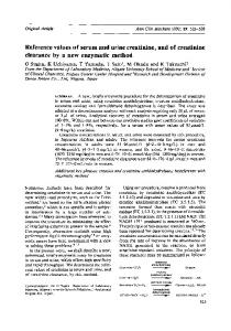 Additional key phrases: creatine and creatinine amidohydrolases; interference with enzymatic method. Creatinine + H 20. Sarcosine + H