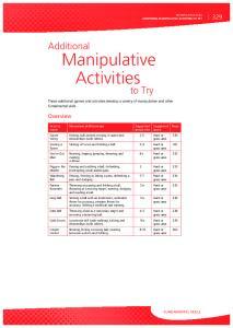 Additional Manipulative Activities