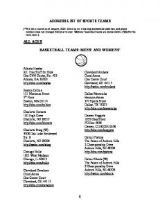 ADDRESS LIST OF SPORTS TEAMS BASKETBALL TEAMS: MENS AND WOMENS