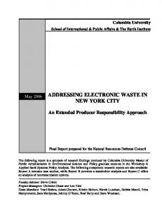 ADDRESSING ELECTRONIC WASTE IN NEW YORK CITY