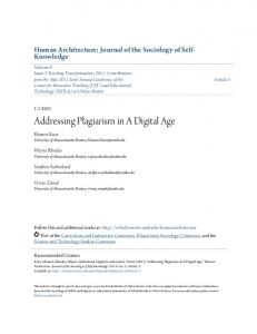 Addressing Plagiarism in A Digital Age