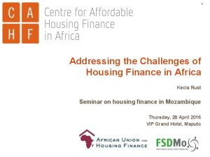 Addressing the Challenges of Housing Finance in Africa