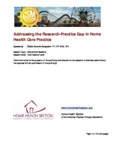 Addressing the Research Practice Gap in Home Health Care Practice