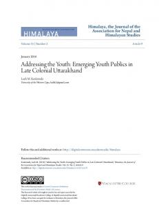 Addressing the Youth: Emerging Youth Publics in Late Colonial Uttarakhand