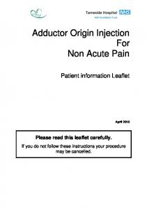 Adductor Origin Injection For Non Acute Pain