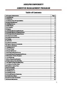 ADELPHI UNIVERSITY ASBESTOS MANAGEMENT PROGRAM. Table of Contents