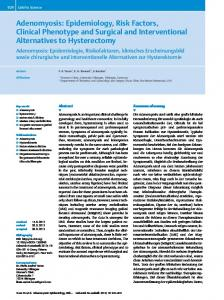 Adenomyosis: Epidemiology, Risk Factors, Clinical Phenotype and Surgical and Interventional Alternatives to Hysterectomy