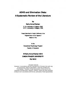 ADHD and Elimination Diets: A Systematic Review of the Literature
