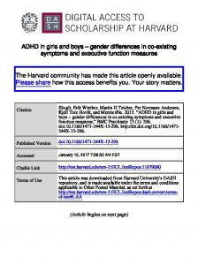 ADHD in girls and boys gender differences in co-existing symptoms and executive function measures