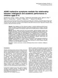 ADHD inattentive symptoms mediate the relationship between intelligence and academic performance in children aged 6-14