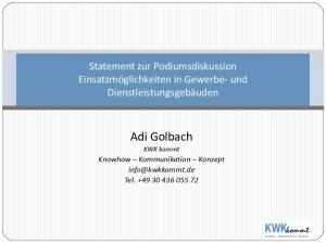 Adi Golbach KWK kommt