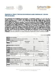 ADICIONES AL ANEXO I ADITIVOS CON DIVERSAS CLASES FUNCIONALES Y CON UNA IDA ESTABLECIDA