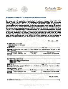 ADICIONES AL ANEXO III COLORANTES CON IDA ESTABLECIDA