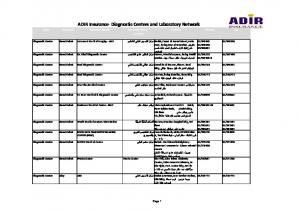 ADIR Insurance Diagnostic Centers and Laboratory Network Type Network Provider Name Provider Name (Arabic)