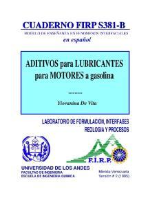 ADITIVOS para LUBRICANTES de MOTORES a GASOLINA