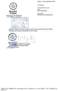 Adjunto remito Formulario para la solicitud de verificaci6n de Tftulos Oficiales de Master procedimiento abreviado