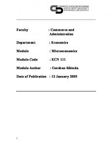 Administration. : Microeconomics. Module Code : ECN 111