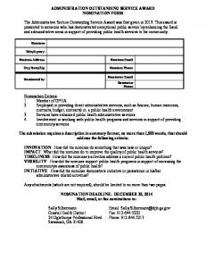 ADMINISTRATION OUTSTANDING SERVICE AWARD NOMINATION FORM