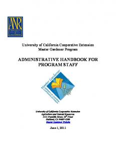 ADMINISTRATIVE HANDBOOK FOR PROGRAM STAFF