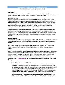 Administrative Information Technology Services Standard Service Level Agreement (SLA)
