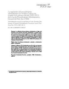 Administrative procedure regulation in Latin America, first decade of General Administrative Procedure Law in Peru (Law No