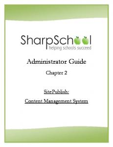 Administrator Guide. Chapter 2. SitePublish: Content Management System