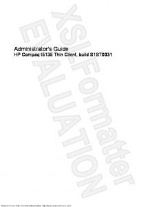 Administrator's Guide HP Compaq t5135 Thin Client, build S1ST0031