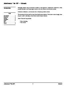 Adminware for ISP Schools. Introduction. Adminware for ISP 1 Schools