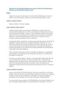 Admisión en las Escuelas Infantiles para cursar el primer ciclo de Educación Infantil en la Comunidad de Castilla y León