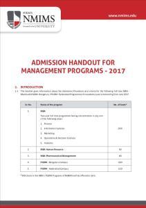 ADMISSION HANDOUT FOR MANAGEMENT PROGRAMS