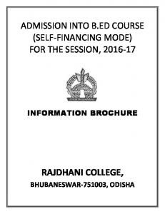 ADMISSION INTO B.ED COURSE (SELF-FINANCING MODE) FOR THE SESSION,