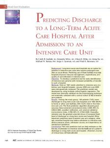 AdMIssION TO AN INTENsIVE CARE UNIT