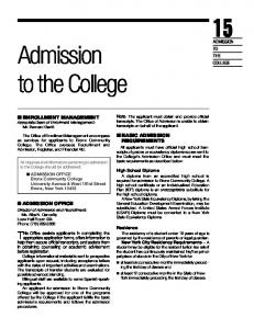 Admission to the College