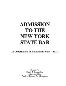 ADMISSION TO THE NEW YORK STATE BAR