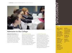 ADMISSIONS. Admission to the College