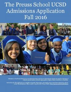 Admissions Application Fall 2016