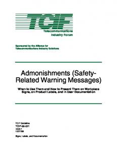 Admonishments (Safety- Related Warning Messages)