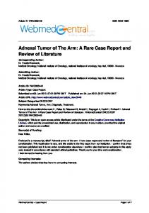 Adnexal Tumor of The Arm: A Rare Case Report and Review of Literature