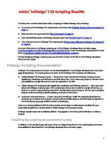 Adobe InDesign CS5 Scripting ReadMe