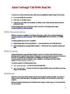 Adobe InDesign CS6 IDML Read Me